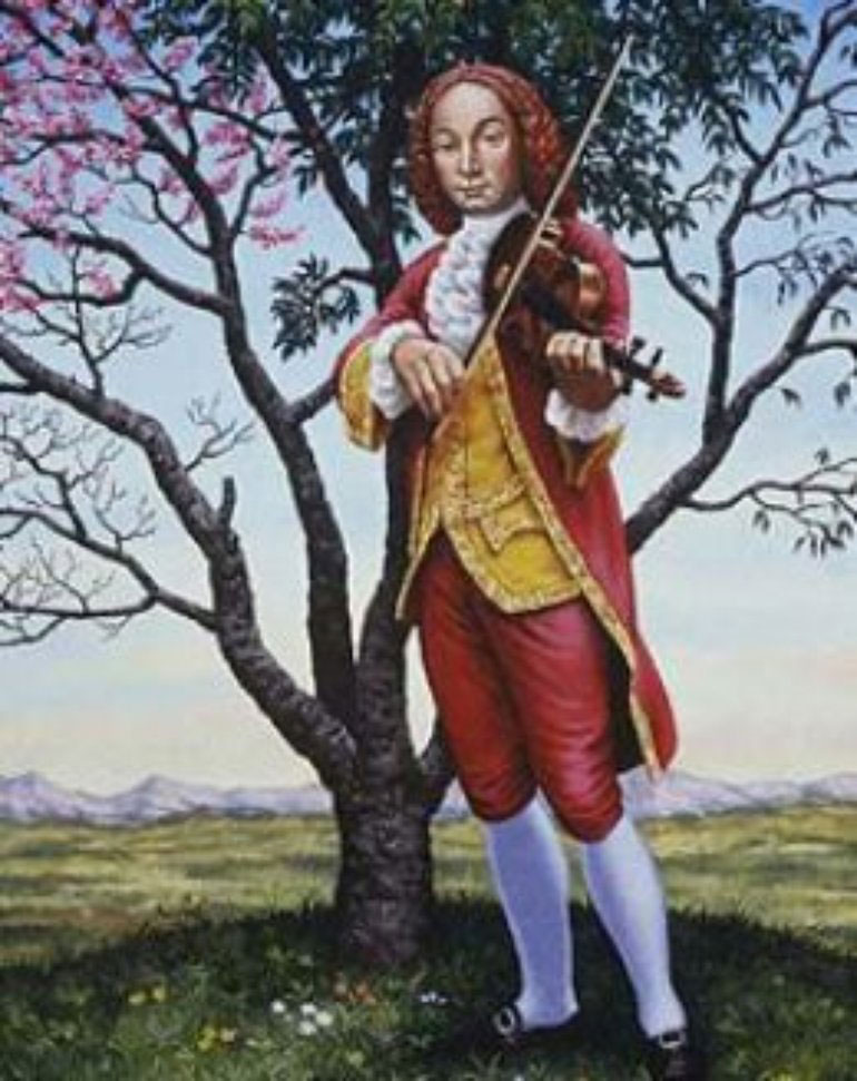 Full Body picture of Antonio Vivaldi playing Violin