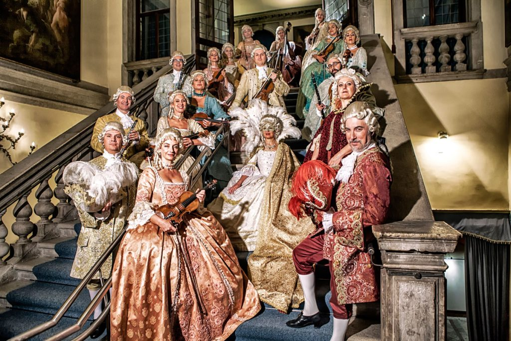The I Musici Veneziani Orchestra on the stairs of the Scuola Grande di San Teodoro Palace